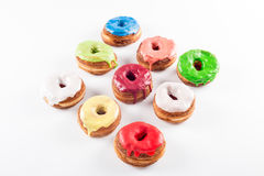 Several colorful fondant croissant and donut mixtu Royalty Free Stock Photography