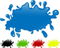 Several colors ink splash. Black, green, red and yellow versions Stock Photography