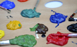 Several colors of paint. Several colors of children paint Royalty Free Stock Photography