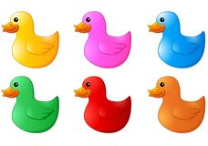 Several colors rubber ducks on white background. Illustration of Several colors rubber ducks on white background royalty free illustration