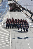 Several companies of military marching Stock Images