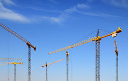 Several construction cranes Royalty Free Stock Image