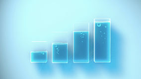 Several containers with different liquid levels. 3D Rendering Stock Photo