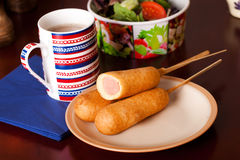 Several corndogs on a plate Royalty Free Stock Images