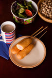 Several corndogs on a plate Royalty Free Stock Photo