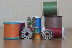 Several cotton reels and spools Stock Images