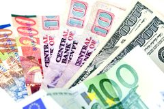 Several countries currencies (focus on dollars) Stock Images