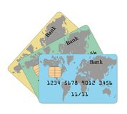 Several credit cards with a world map. the concept of credit card operations around the world. vector illustration. Several credit cards with a world map. the Stock Photography