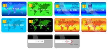 Several creditcard designs. Front and back Royalty Free Stock Photo