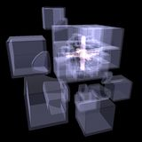 Several cubes connected by one core. X-ray Stock Photos