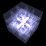 Several cubes connected by one core. X-ray Royalty Free Stock Photo
