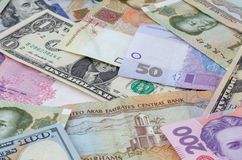 Several currencies banknotes Stock Photography