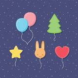 Several Cute balloons on blue background. Royalty Free Stock Image