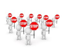 Several 3D Character Holding Stop Signs Royalty Free Stock Photo