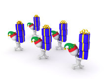 Several 3D Characters with Elf Hats Carrying Wrapped Gift Boxes. Several small 3D characters with elf hats are carrying stacks of wrapped gift boxes. Isolated on Stock Image