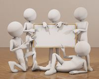 Several 3d people carrying a white board over wodden floor Royalty Free Stock Images