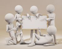 Several 3d people carrying a white board Royalty Free Stock Photography