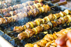 Kebabs on grill Royalty Free Stock Images