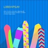 Set of snowboards Vector illustration. Several different colourful snowboards are standing at a blue wall Poster template with copy space royalty free illustration