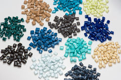 Several different dyed polymer Pellets Royalty Free Stock Photos
