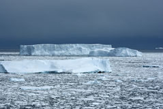 Several different icebergs in the ocean overcast afternoon. Stock Photos