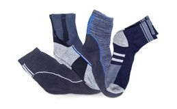 Several different men`s thermal socks and crew socks Royalty Free Stock Image
