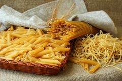 Several different types of pasta Royalty Free Stock Photography