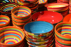 Several dyed ceramic bowls Stock Photos
