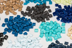 Several dyed polymer resins Stock Image