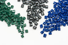 Several dyed polymer resins Stock Photo