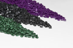 Several dyed polymer resins Royalty Free Stock Images