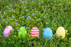 Several Easter colored eggs hanging on a tree branch color sunny spring day. Royalty Free Stock Photos