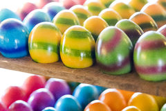 Several easter eggs prepared for sale Stock Photos