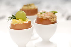 Several egg appetizers Stock Images
