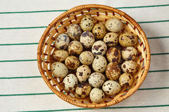 Several eggs lie in a wattled basket with shadow Stock Photography