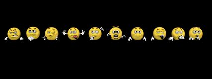 Several emoticon - 3d render Stock Photography