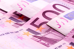 Several 500 euro banknotes are adjacent. symbolic photo for wealth. Money concept Stock Photos
