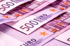 Several 500 euro banknotes are adjacent. symbolic photo for wealth. Royalty Free Stock Photo