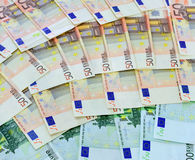 Several 50 euro bills Royalty Free Stock Photo