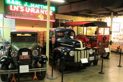 Several examples in detail of old vehicles, Museum of Industry, Baltimore, Maryland, 2016 stock photos