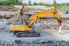 Several excavators Royalty Free Stock Image