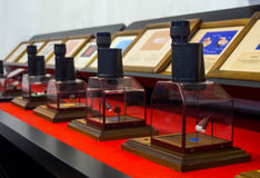 Several of eyepieces with the exhibits at the Museum of Miniatures `Russian Lefty` Stock Photos