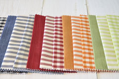 Several fabrics of different patterns and colors Stock Photo