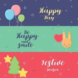 Several Festive`s banner. Three cute banner for celebrate festival. Three banner designed  greeting card or banner for celebration Stock Image