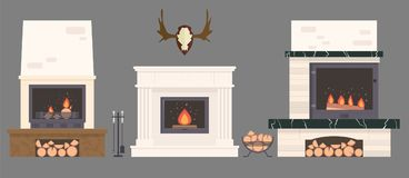Several fireplaces and accessories to them. Stone and brick classical and modern fireplaces. Fire and firewood. Reindeer antlers on the wall Stock Image