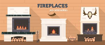 Several fireplaces and accessories to them. Stone and brick classical and modern fireplaces. Fire and firewood. Reindeer antlers on the wall Stock Photo