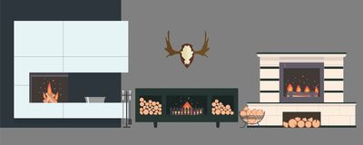 Several fireplaces and accessories to them. Stone and brick classical and modern fireplaces. Fire and firewood. Reindeer antlers on the wall Stock Images