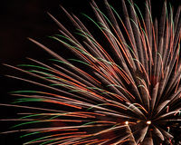 Several fireworks shells exploding. Several firework shells explode at the King, North Carolina fireworks show Stock Image