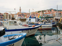 Several fishing boats are moored. Royalty Free Stock Image