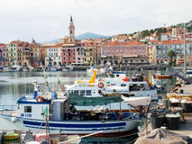 Several fishing boats are moored. Royalty Free Stock Images